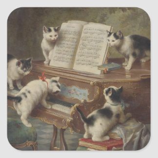 Kitten and piano square sticker
