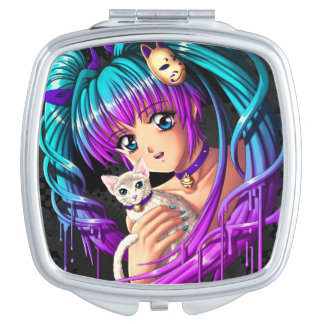 Kitten and Pigtail Manga Girl Mirrors For Makeup