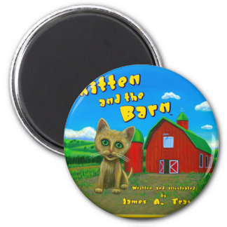 Kitten and the Barn 6 Cm Round Magnet