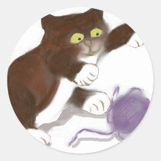 Kitten and the Purple Ball of Yarn Round Sticker