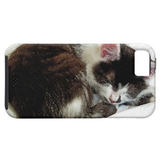 Kitten asleep on White Comforter iPhone 5 Case
