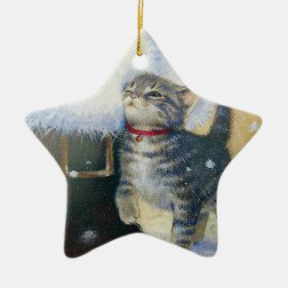 Kitten at Santa's Boot Christmas Ornament