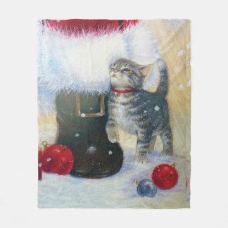 Kitten at Santa's Boot Fleece Blanket
