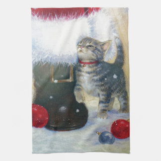 Kitten at Santa's Boot Tea Towel