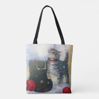 Kitten at Santa's Boot Tote Bag
