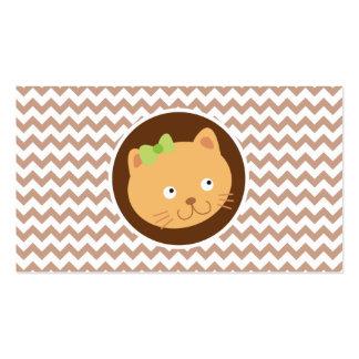 Kitten; Brown Chevron Pack Of Standard Business Cards