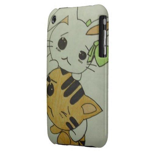 Kitten & Bunny iphone 3G/3GS case iPhone 3 Case