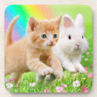 Kitten & Bunny with Rainbow Coaster