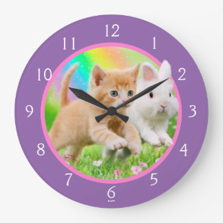 Kitten & Bunny with Rainbow Large Clock