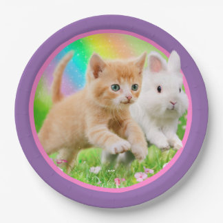 Kitten & Bunny with Rainbow Paper Plate