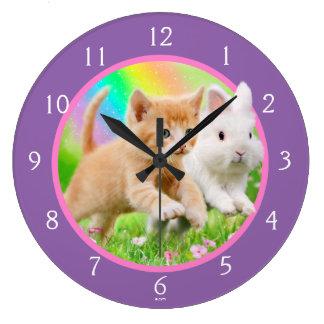 Kitten & Bunny with Rainbow Wall Clocks
