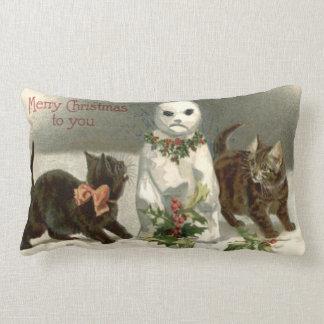 Kitten Cat Curious Snowman Holly Wreath Lumbar Cushion