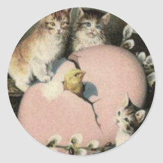 Kitten Cat Easter Chick Colored Painted Egg Round Sticker