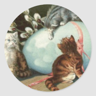 Kitten Cat Easter Colored Painted Egg Round Sticker
