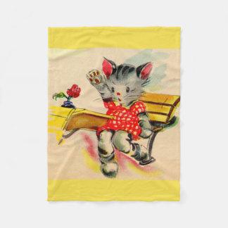 kitten cat student fleece blanket