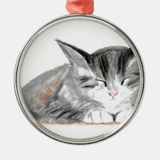 Kitten Cat watercolour Silver-Colored Round Decoration