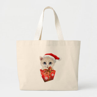 Kitten Christmas Santa with Gift Bags