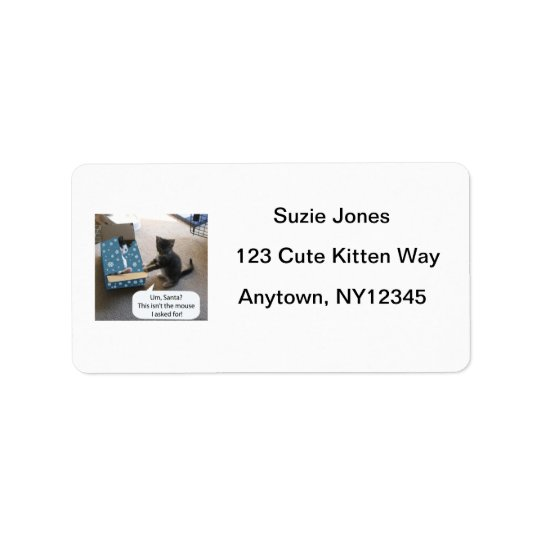 Kitten Christmas Surprise Avery Label