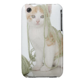 Kitten covered in yarn iPhone 3 Case-Mate cases