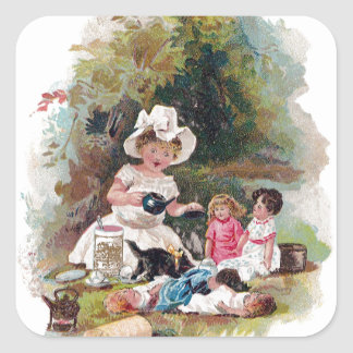 Kitten Crashes Victorian Tea Party Square Sticker