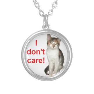 Kitten Doesnt Care Round Pendant Necklace