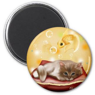 Kitten Dreaming 6 Cm Round Magnet
