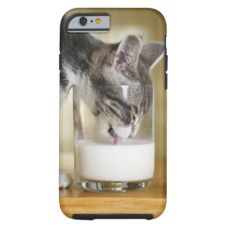Kitten drinking milk from glass tough iPhone 6 case