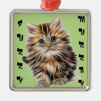 Kitten Furry Murray So Cute and Hairy Silver-Colored Square Decoration