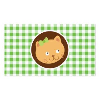 Kitten; Green Gingham Pack Of Standard Business Cards