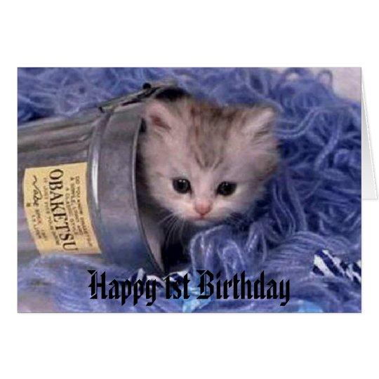 kitten Happy 1st Birthday Card