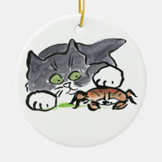 Kitten has found a Crab on the Beach Christmas Ornament