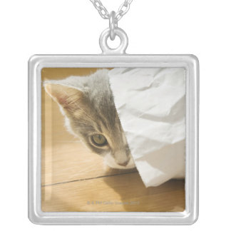 Kitten hiding in paper bag silver plated necklace