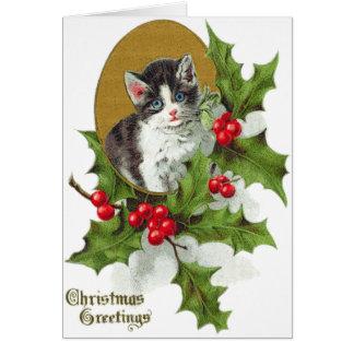 Kitten Holly Greeting Card
