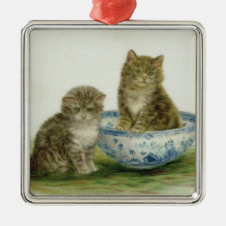 Kitten in a Blue China Bowl Christmas Ornament