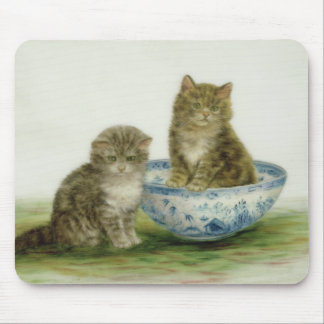 Kitten in a Blue China Bowl Mouse Mat