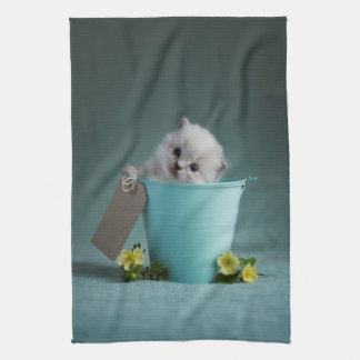 Kitten in a Bucket Tea Towel