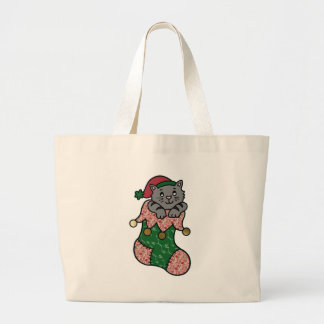 Kitten in a Christmas Stocking Canvas Bags