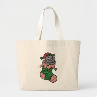 Kitten in a Christmas Stocking Jumbo Tote Bag