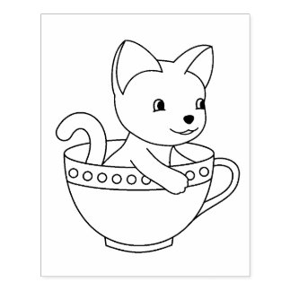 Kitten in a Cup - Cat in a Teacup Coloring Page Rubber Stamp