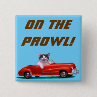 Kitten in a Red Convertible 15 Cm Square Badge