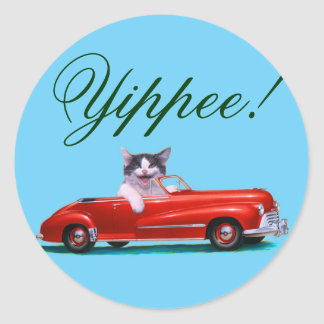 Kitten in a Red Convertible Round Stickers
