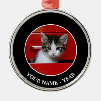 Kitten in a red drawer christmas ornament