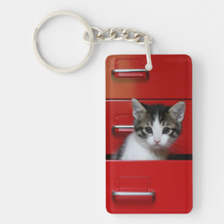 Kitten in a red drawer key ring