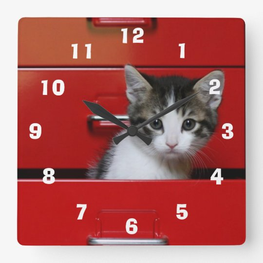 Kitten in a red drawer square wall clock