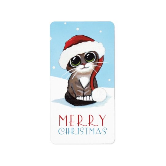 Kitten in a Santa Hat Merry Christmas Labels