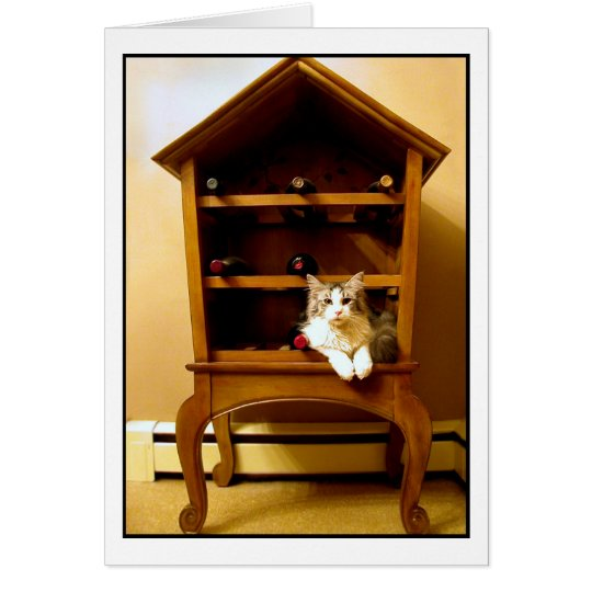 Kitten in a wine rack card