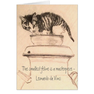 Kitten in Bowl on Milk Can Pencil Drawing Card