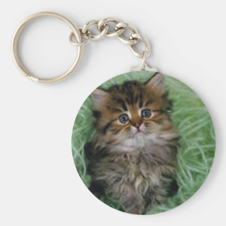 Kitten In Green Yarn Basic Round Button Key Ring