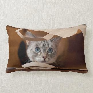 Kitten in Grocery Bag Lumbar Cushion