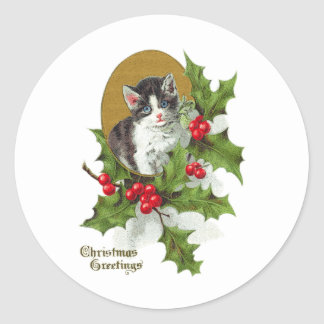 Kitten in Holly Vintage Christmas (H.SandyRelief) Classic Round Sticker